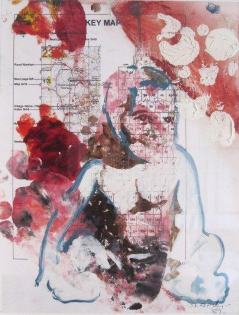 Dissected 1  (2009)  Mixed media and oil on paper  34 * 29 cm