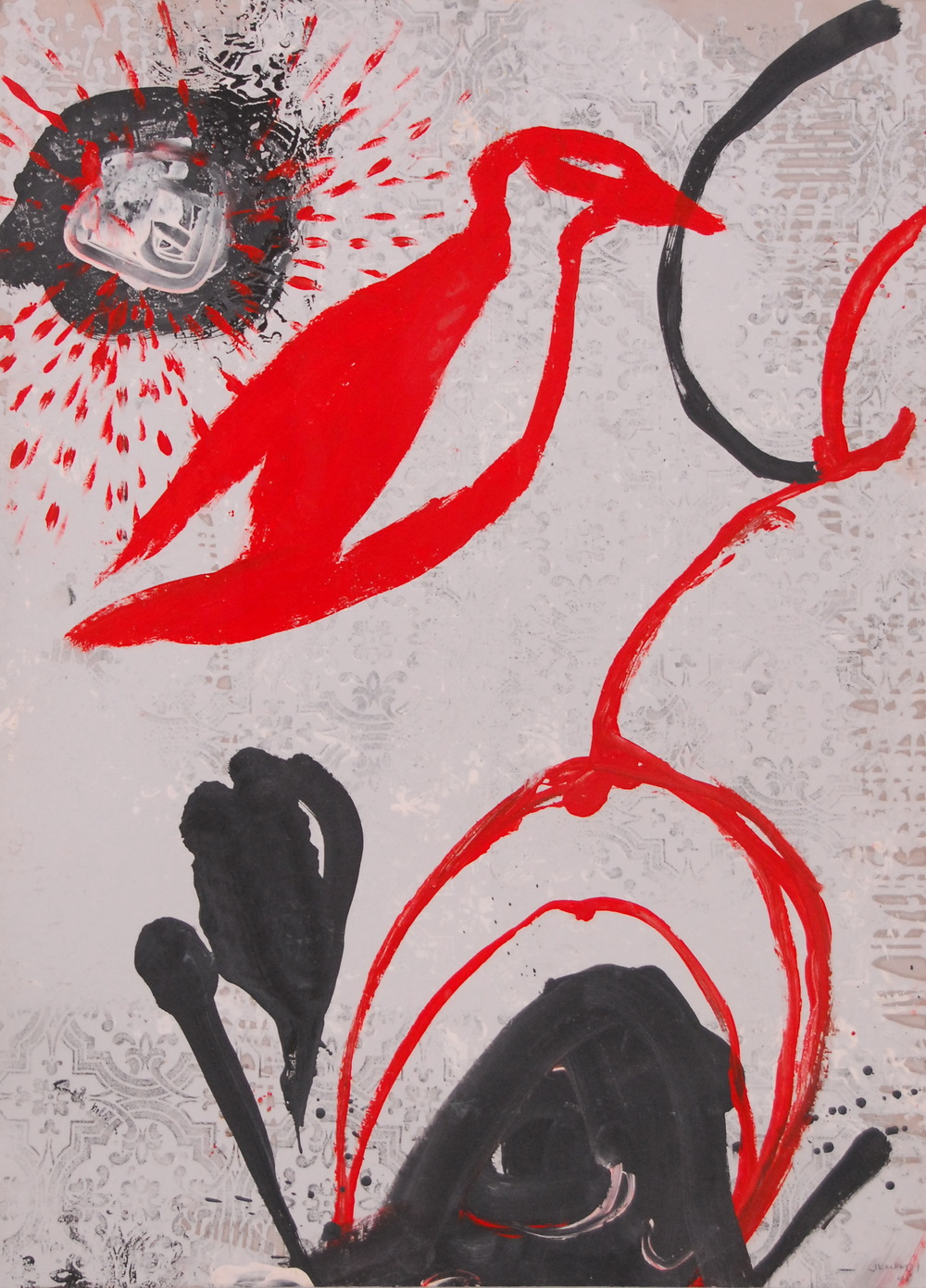 Red Bird  (2008)  Mixed media on paper  100 * 80 cm