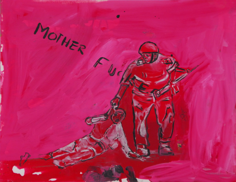M.F.  (2007)  Mixed media on paper  50 * 65 cm