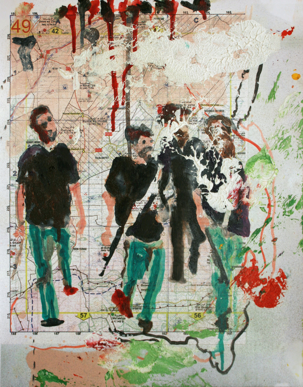 Dissected 5  (2009)  Mixed media and oil on paper  34 * 29 cm
