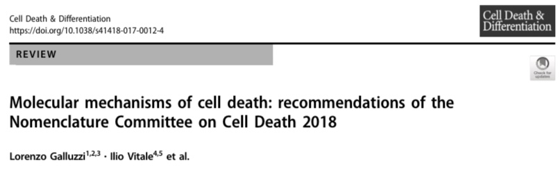 The latest nomenclature recommendations by Lorenzo Galluzzi and ~200 other authors in the cell death field is published!  - 23 Jan 2018