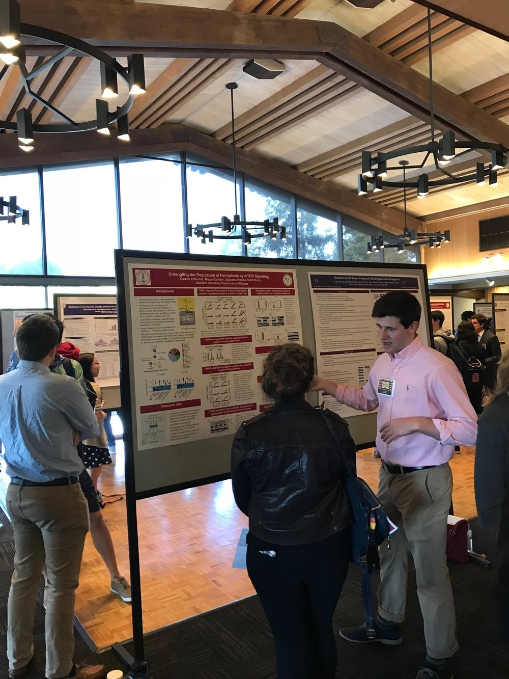 Carson enticing prospective students to Stanford with visions of participating in cutting edge cell death research - 28 Apr 18