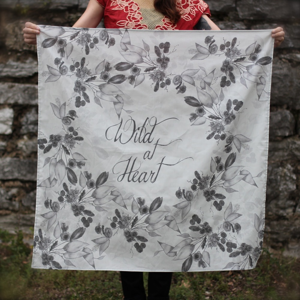 Wild at Heart Textile, Pattern created with original art by Beca Lewis