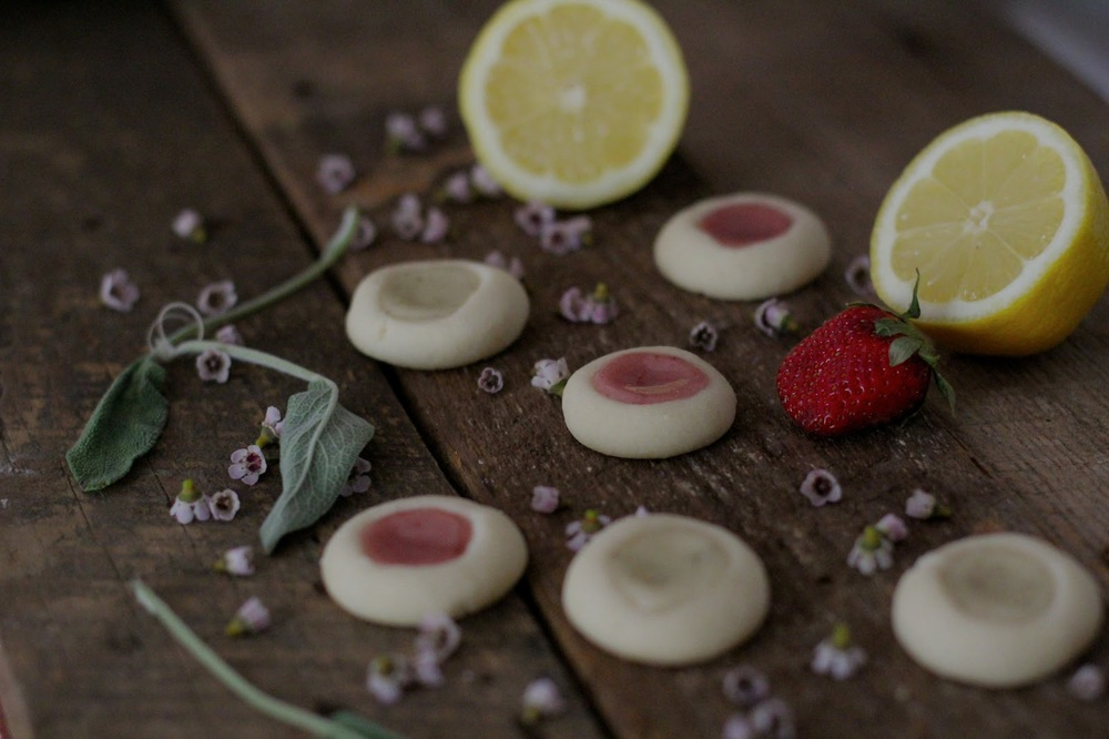 Lemon Sage and Strawberry Vanilla Thumbprint Cookies co-mingling