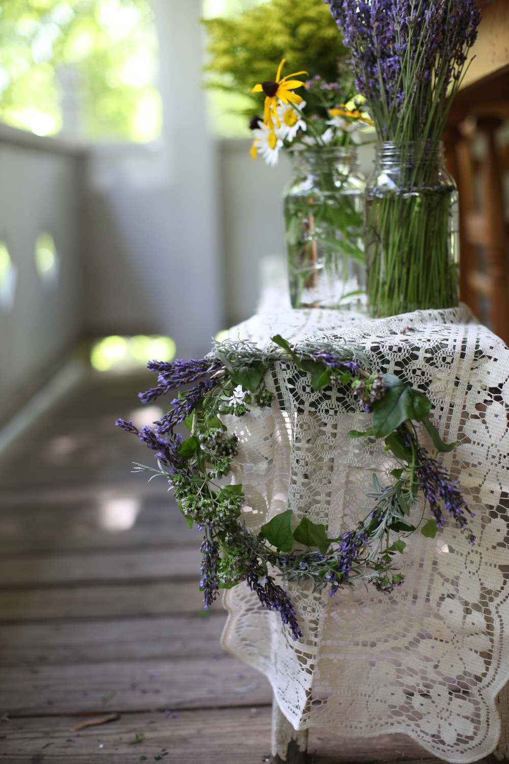 Floral Crown: English Lavender, Spike Lavender, Marjoram Blooms, Ivy, and Donkey Tail