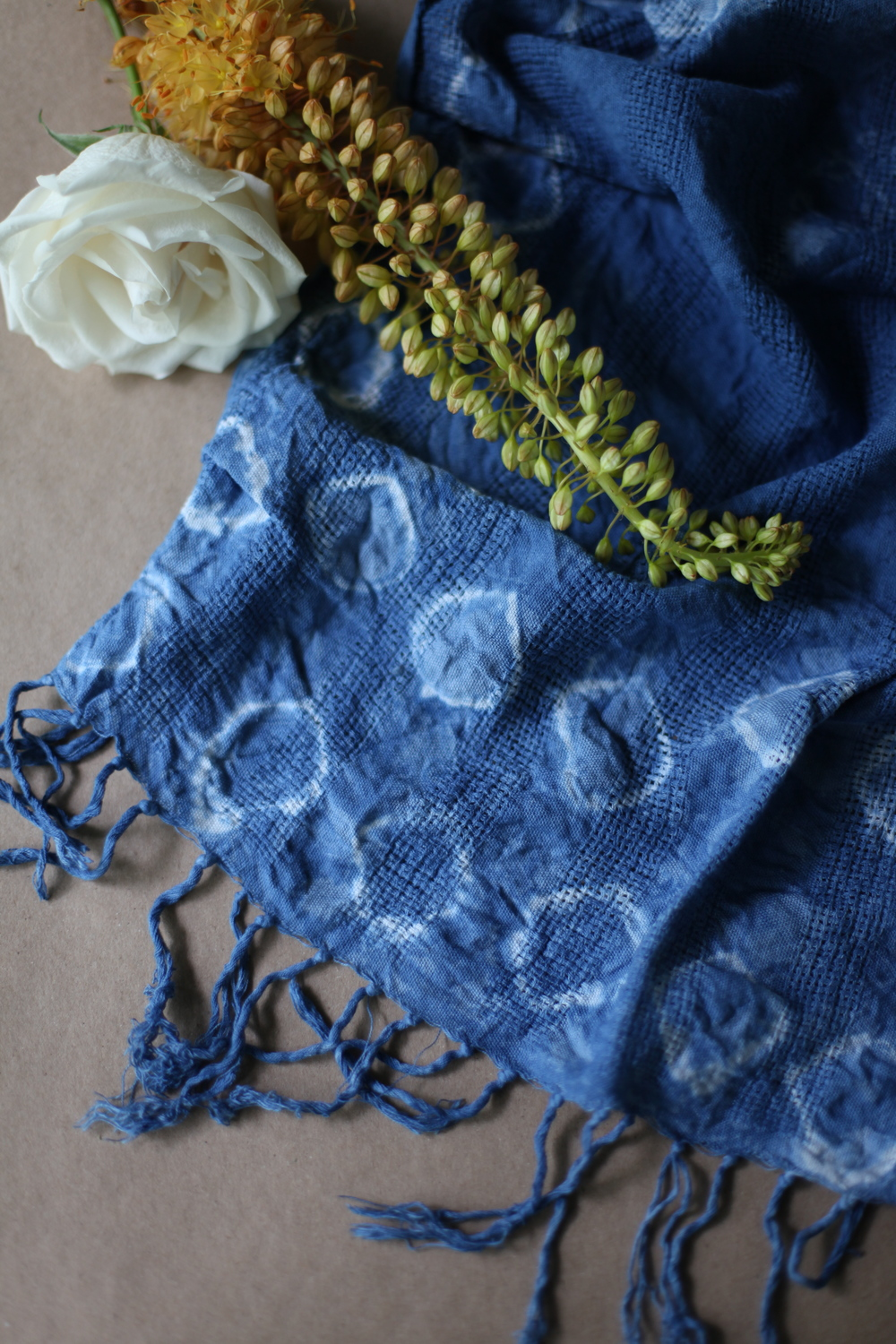 inks+thread shibori dyed scarf