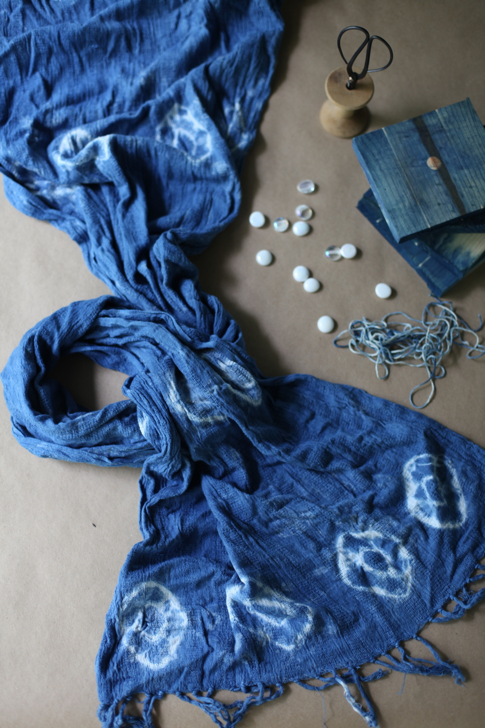inks+thread shibori dyed indigo scarf