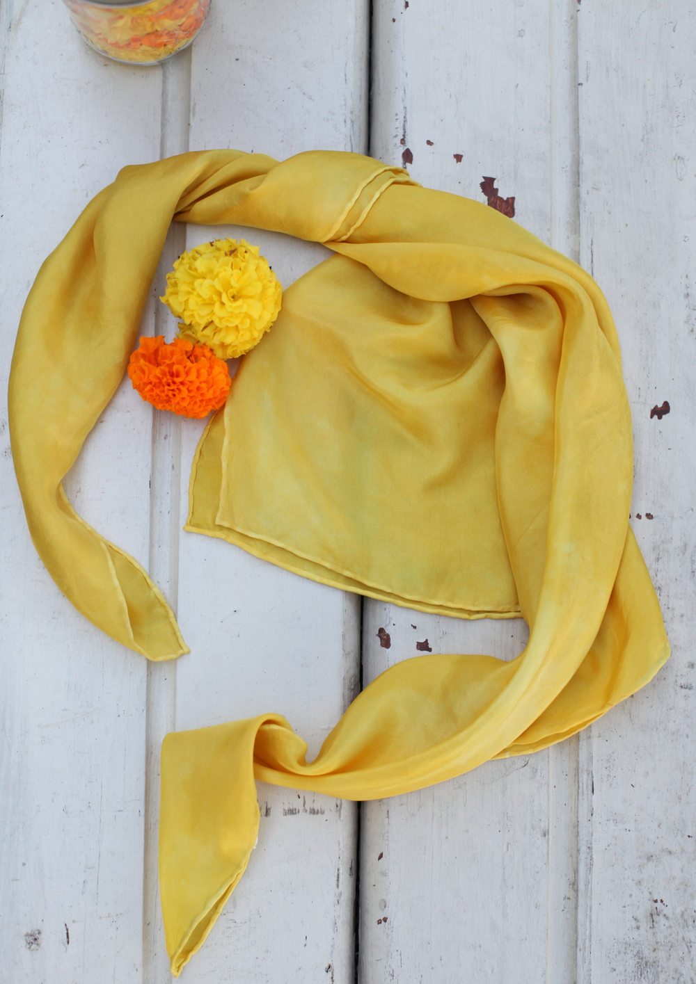 marigold dyed scarf