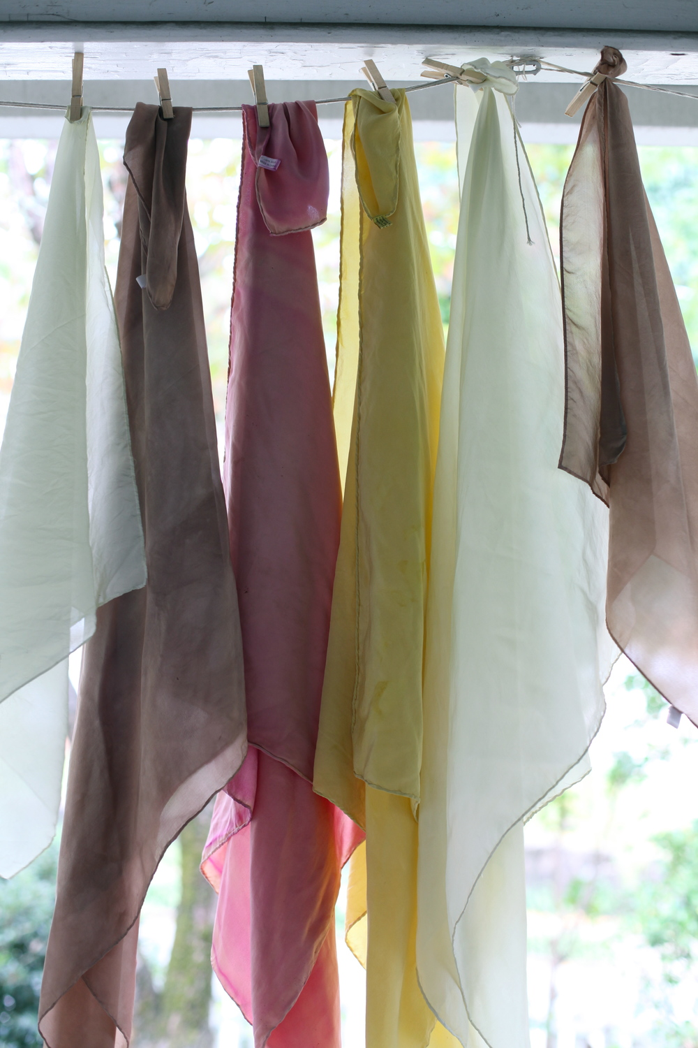 Naturally dyed silk with fennel, turkey tail mushroom, pokeweed berry, + goldenrod