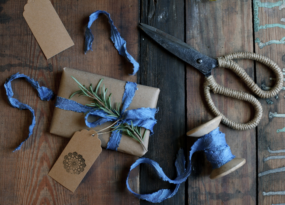 indigo dyed silk ribbon by Maggie Pate