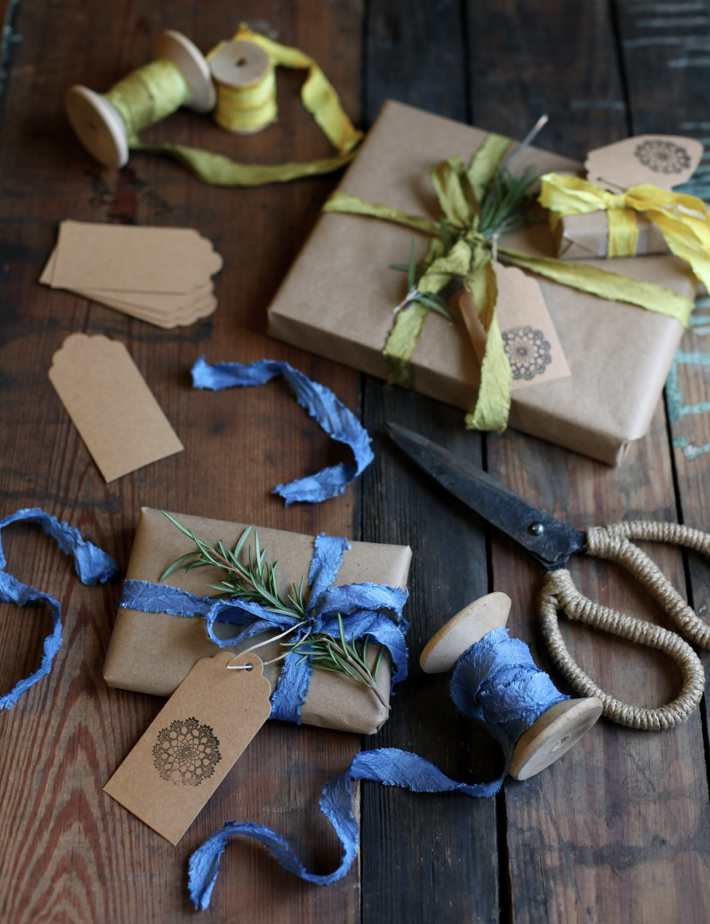 naturally dyed silk ribbon by Maggie Pate