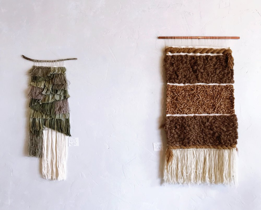 LEFT: Textured Earth using Fennel Fronds & Feathers as Dye Material  RIGHT: Neutral Chaos using Expired Coffee & Black Tea as Dye Material