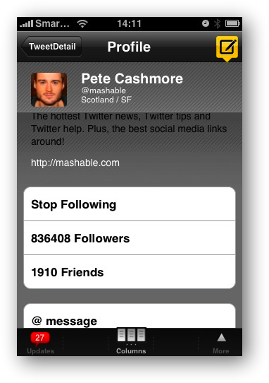 TweetDeck Peep Profile