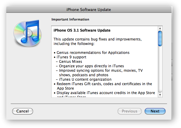 iPhone 3.1 Update Notice