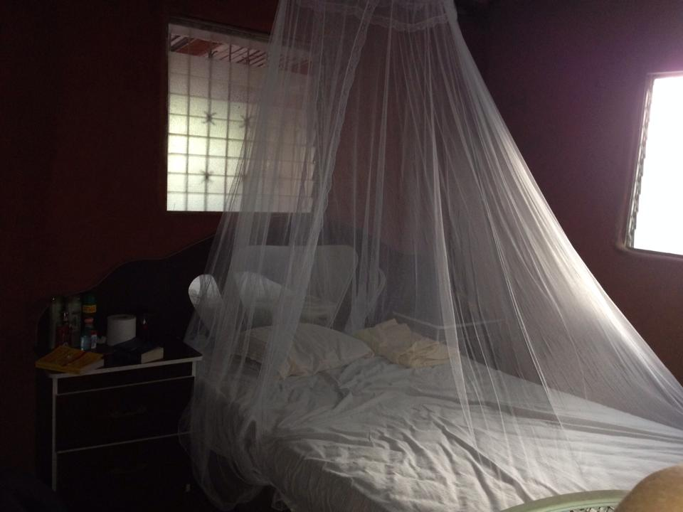 A mosquito net at a homestay at Project Limón