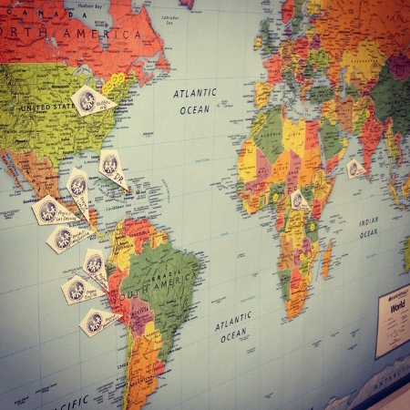 A map at HQ that indicates where our project sites are located around the globe!
