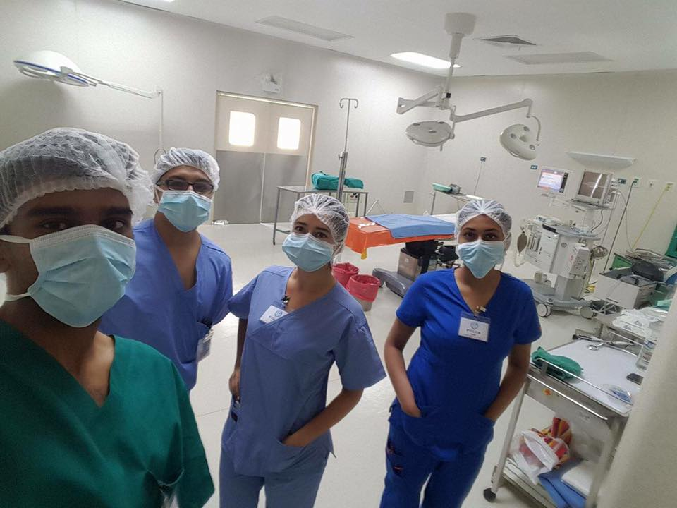 Huancayo Fellows prepare for surgical observation at Hospital Carrión.