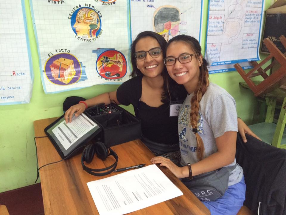 SIHF La Merced, Peru  Fellows Komal and Nhu prepare to administer auditory tests.