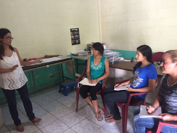 Dra. Tania teaches Azucena, Ceci, and Fatima about birth control and nutrition so they can help lead charlas (education talks) while patients wait for their consultations