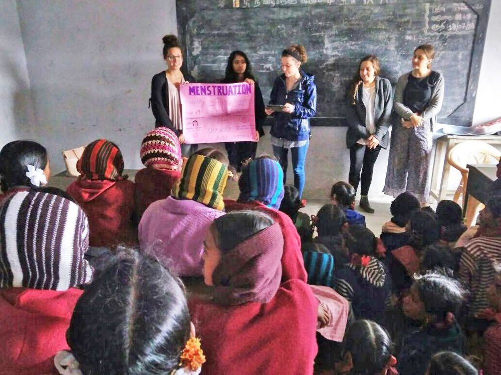 Reproductive health education with adolescent girls in India. Reusable menstrual pads will enable them to attend class every day of each month!