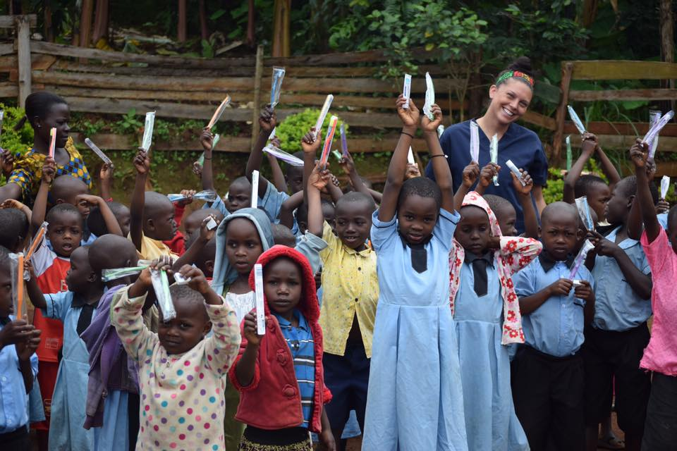 Brushing and flossing lessons in Uganda!