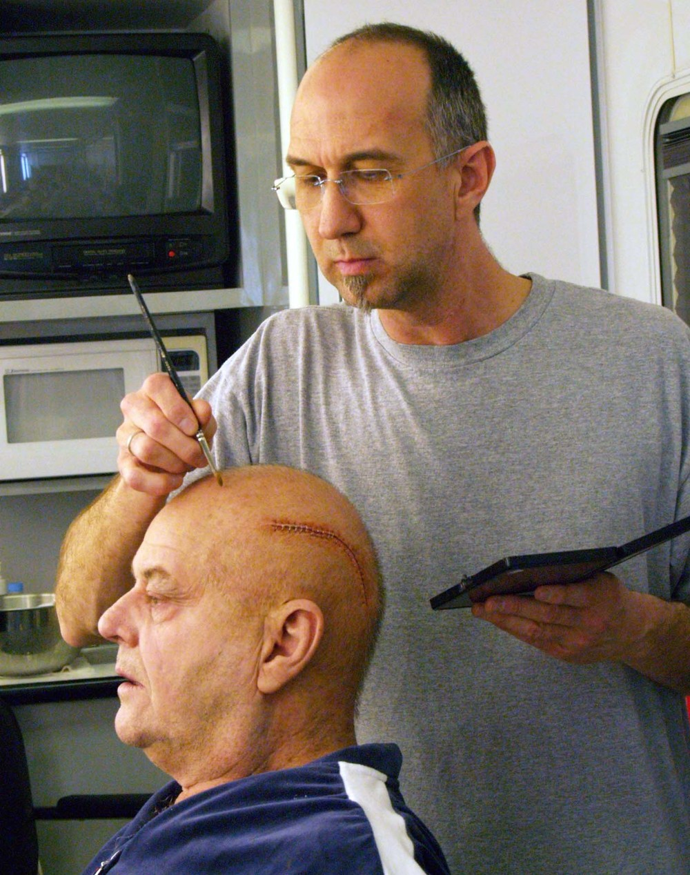 "Matthew applying make-up to Jack Nicholson for ""The Bucket List""."