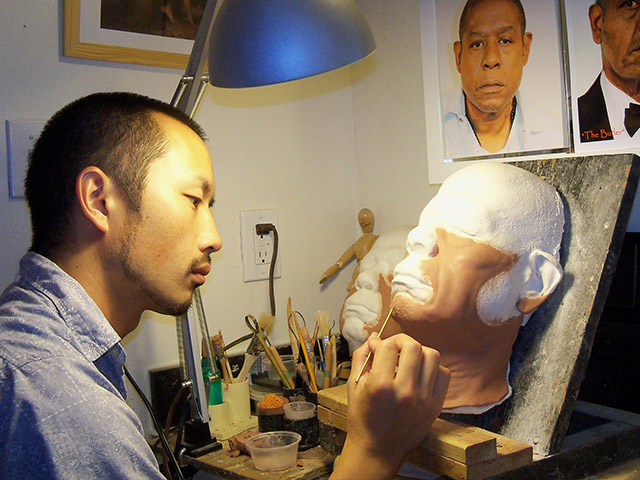 "Koji Ohmura sculpting Forrest Whitaker's old age appliances for ""Lee Daniels' The Butler""."