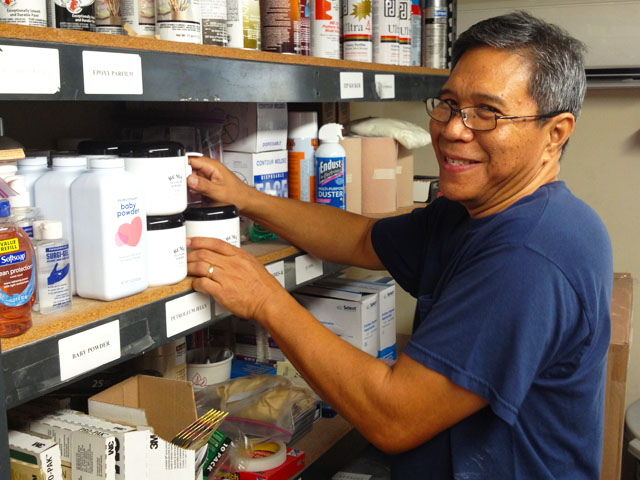 Joel keeping our supply room stocked.