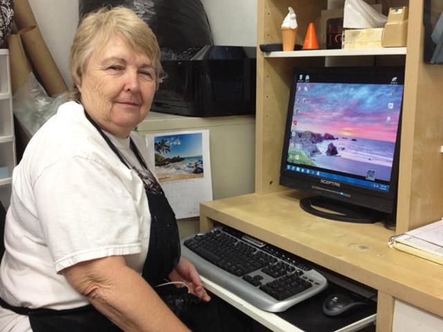 Jackie at her desk.