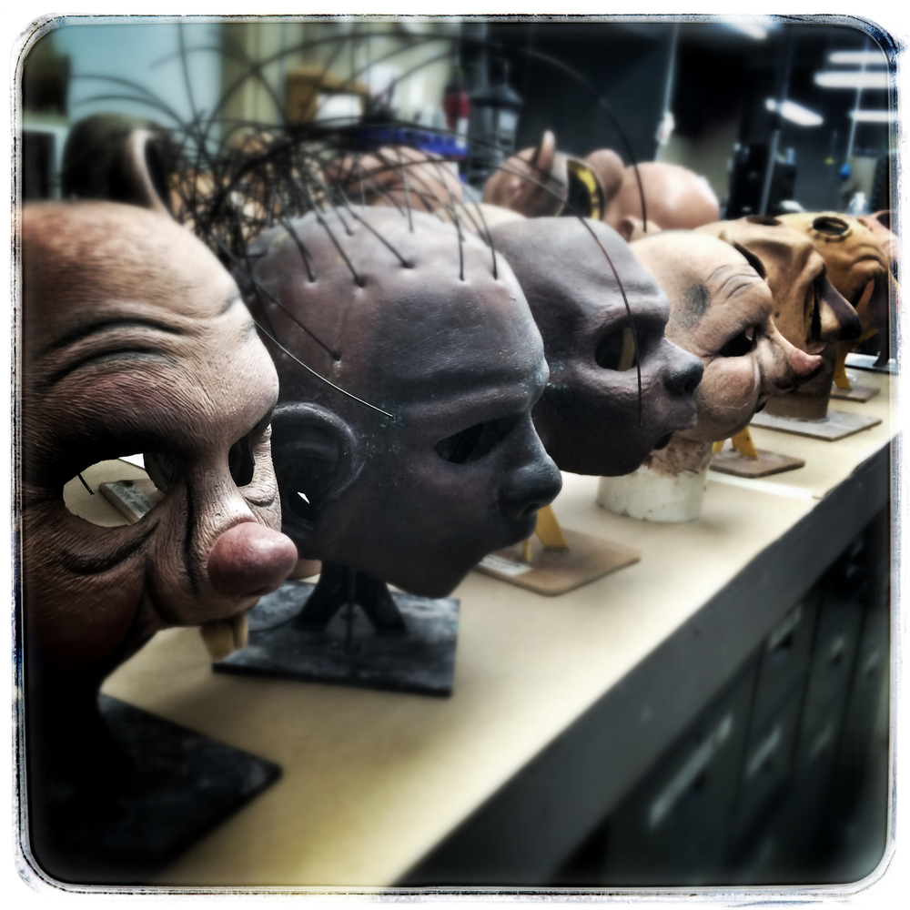 Masks being worked on at W.M. Creations, Inc.  Photo by Clinton Wayne