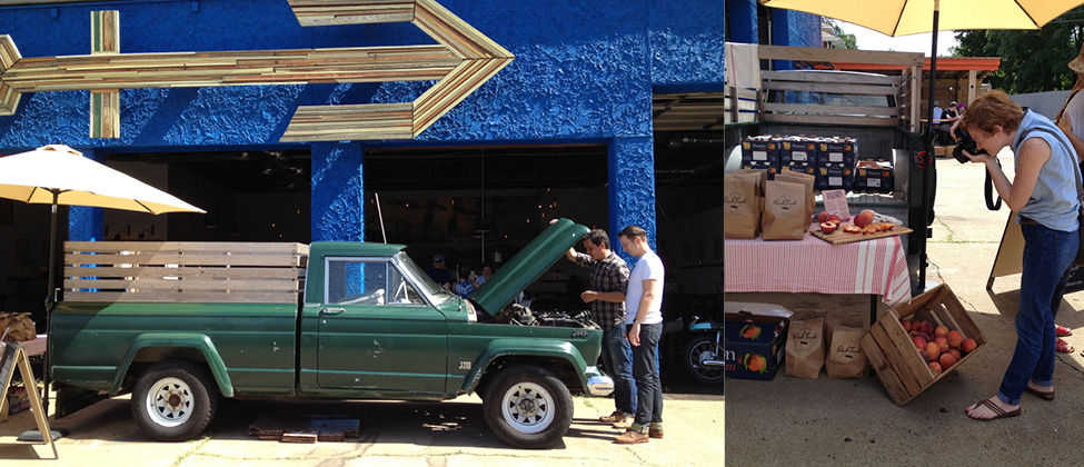 iphone images : (L) 1/2 of Ginger & Birch with 1/2 of The Peach Truck checking out the truck  //  (R) Lily Glass doing her thing