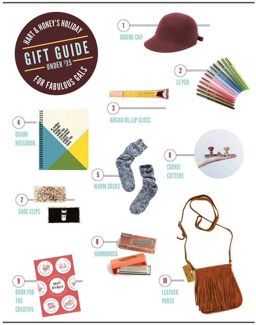 1.Need Supply  / 2. Le Pen  / 3.Josie Maran / 4.Notebook  / 5. Madewell   6. Harriott Grace / 7. Ban.do / 8.Harmonica / 9.Book / 10. Tigertree
