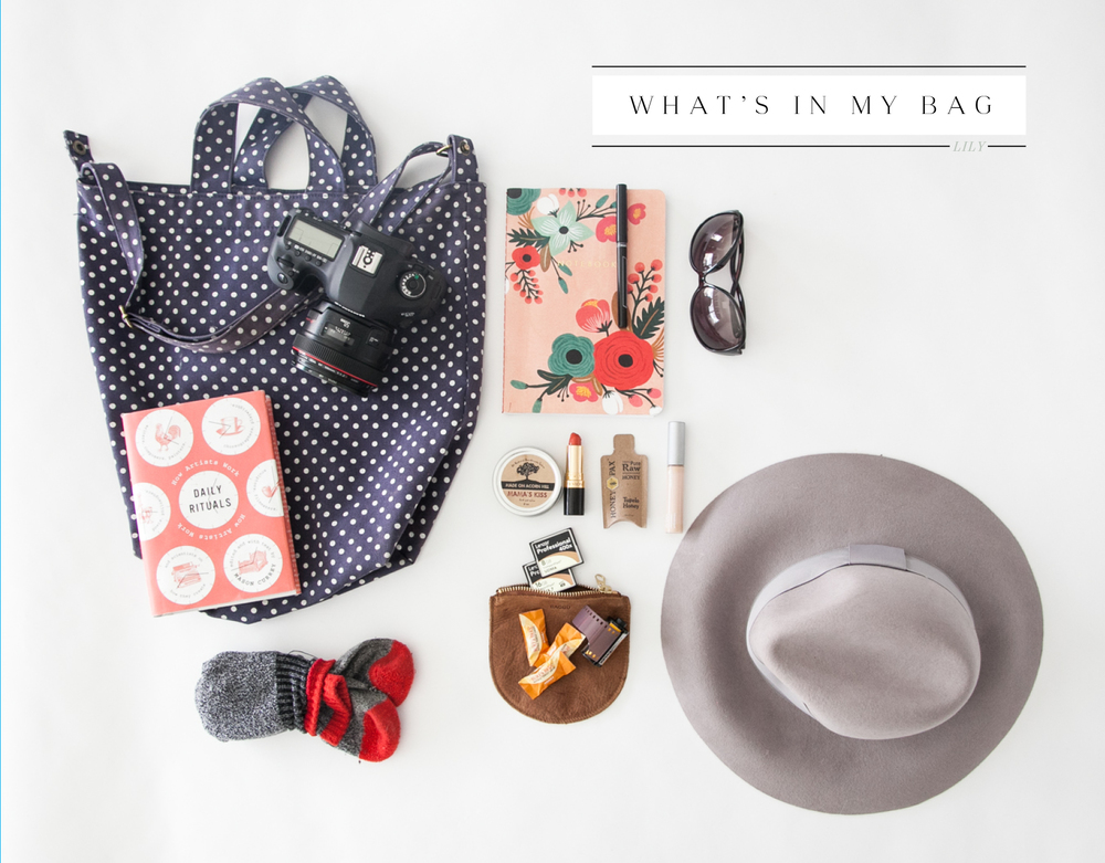 bag  /  notebook  /  book  /  camera  /  sunglasses  /  salve  /  lipstick  /  travel honey  /  concealer  /  socks  /  leather pouch  /  burt's bees logenze  /  hat (similar)