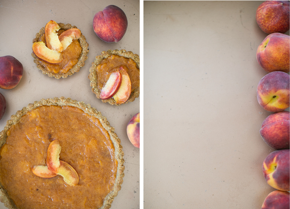 paleo pecan crust with peach filling , hart & honey, the peach truck