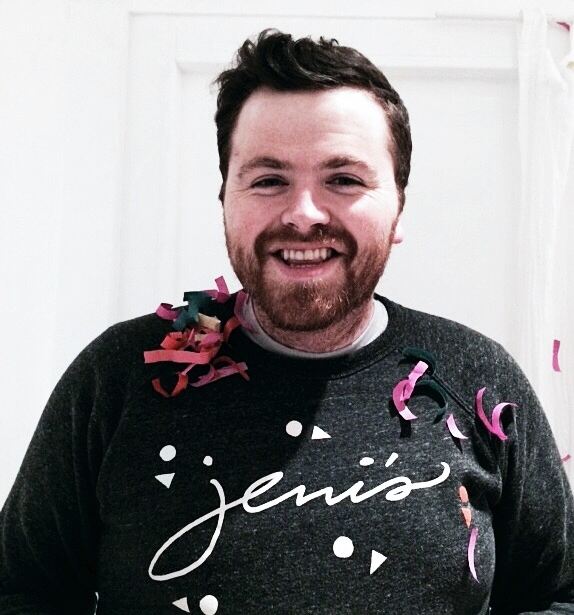 This is our friend  Art , he is an committed Jeni's employee but also can rock a rad Jeni's sweatshirt (in collaboration with  Homage , another killer Columbus born brand) and confetti like no other!