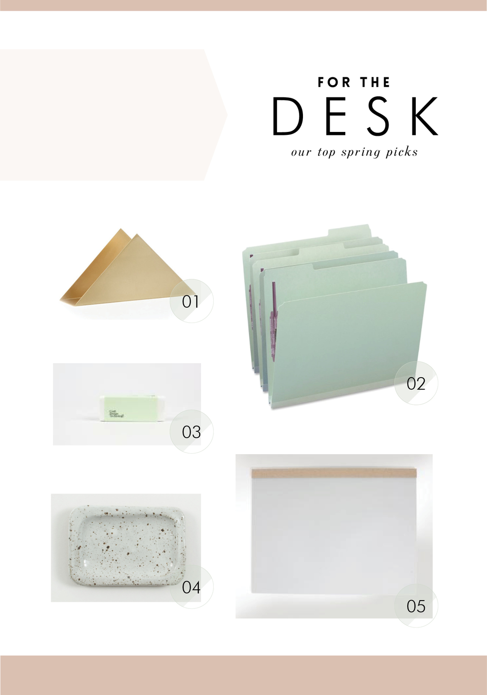 01 desk organizer  /  02 folders  /  03 eraser  /  04 paper clip holder  /  05 pad that doubles as a mousepad!