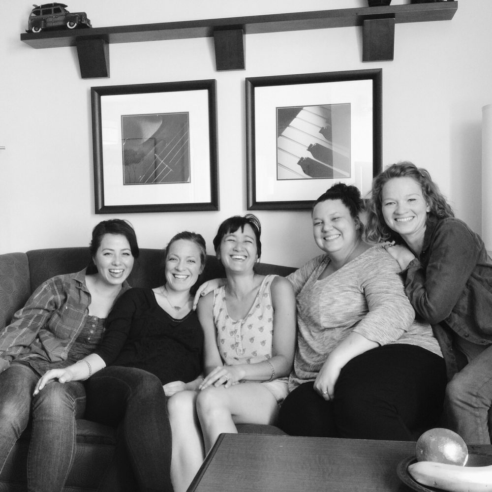 "this is our classic ""oh shoot, we've spent two days together and don't have a single picture of all five of us last-minute iphone timer picture."" try not to be jealous of those classy hotel fine art pieces behind us."