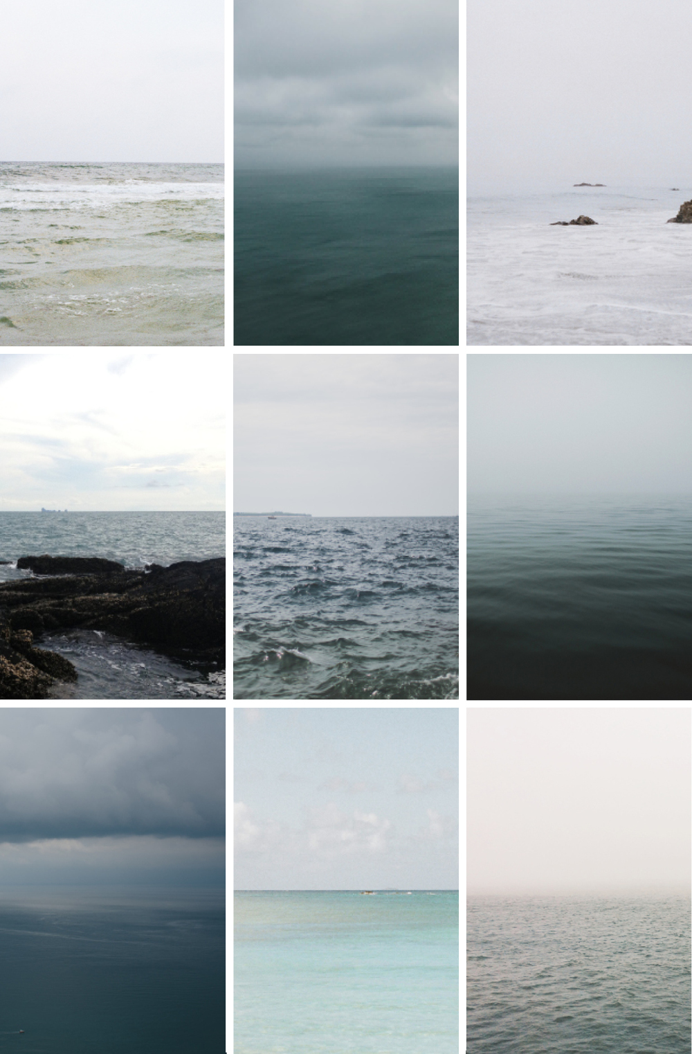 (Row 1) Gulf of Mexico,  Abby Ott Hester  / New Zealand,  Fiona Andersen  / Pacific Ocean,  Lily Glass  (Row 2) Thailand,  Virginia Petitte  / Slovenia,  Alicia White  / Canada,  Fiona Andersen  (Row 3) Sicily,  Alicia White  / St. John U.S.V.I.,  Lily Glass  / Charleston Pier,  Beatrice Helman