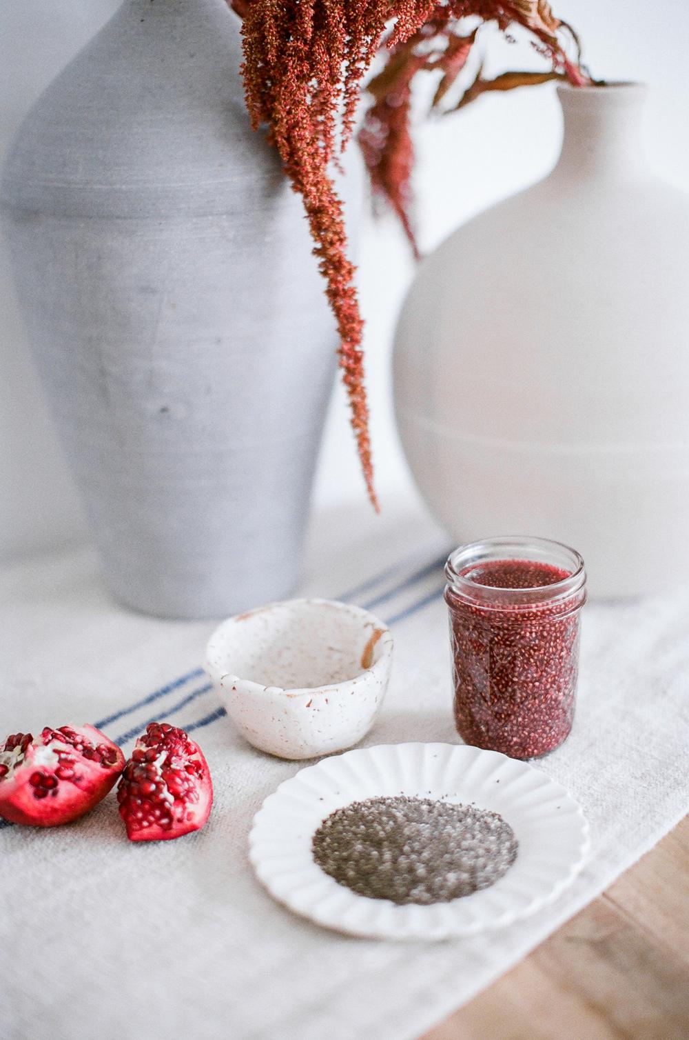 pomegranate grean tea chia drink