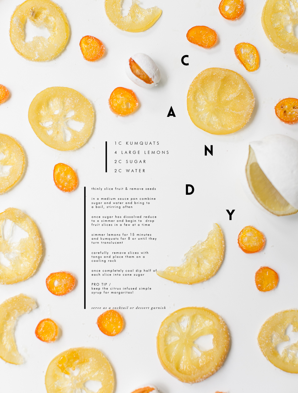 Candied lemon, candied kumquat recipe
