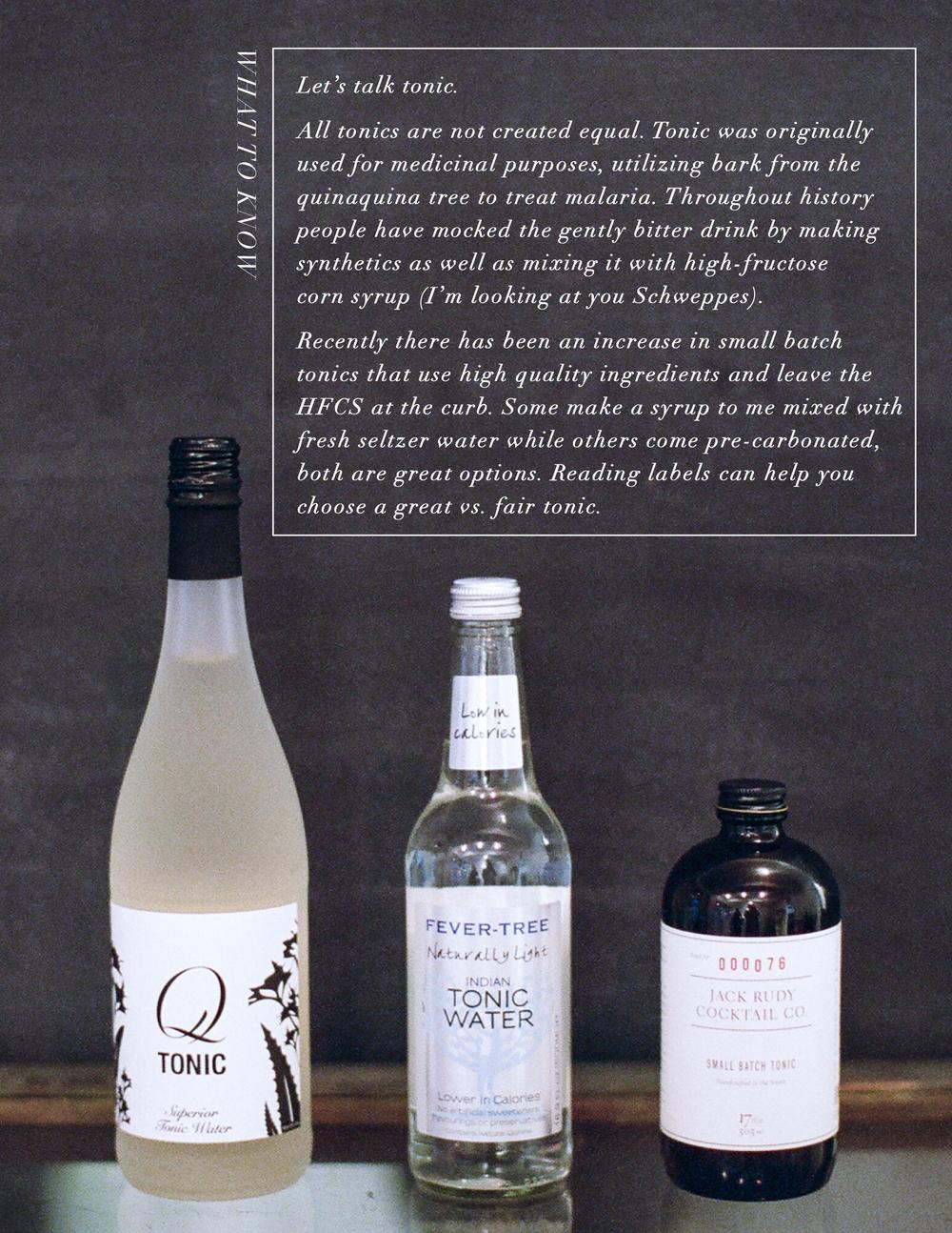 specialty tonics, gin & tonic
