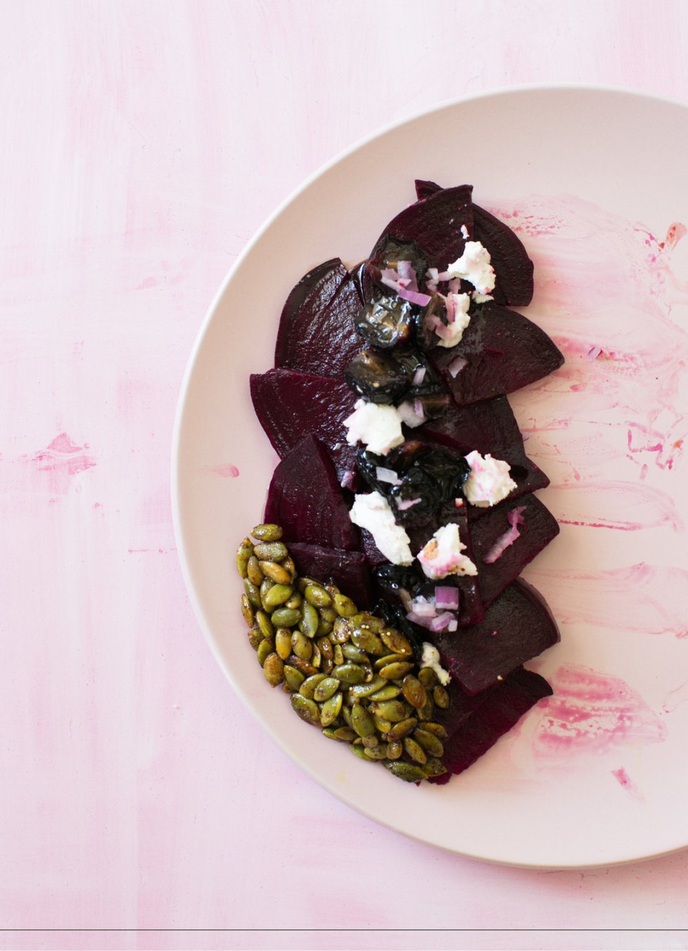 Beet Salad with pumpkin seeds and roasted grapes