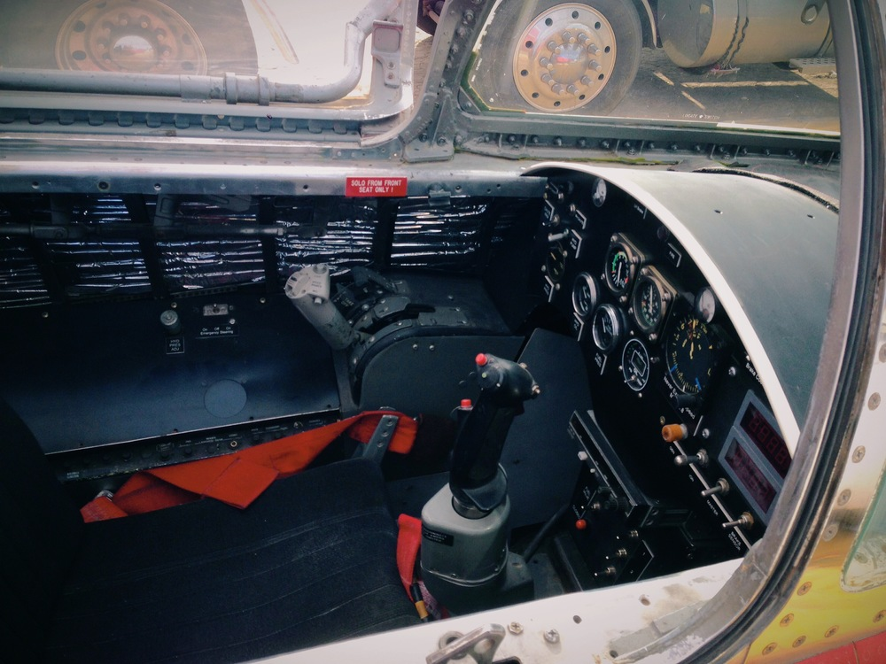 Inside view of the cockpit. With this car, the line between driver and pilot gets a little blurred.