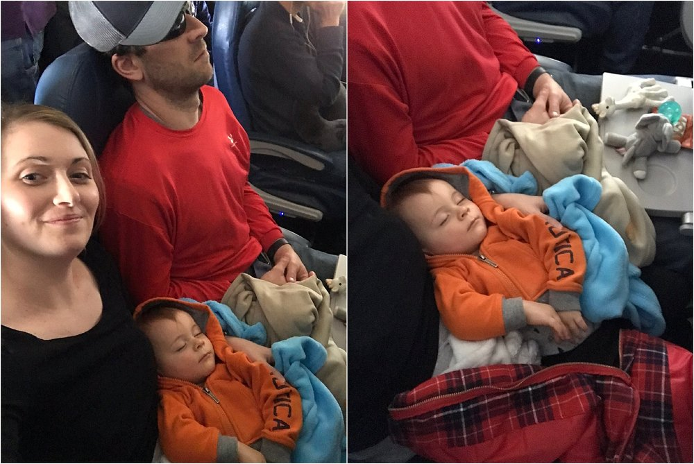 Success! He fell asleep in my arms on the plane!