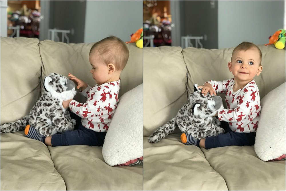 Zeke LOVED his snow leopard! He was givin' him cuddles!
