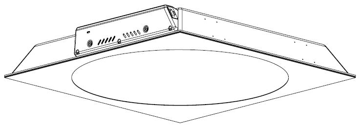 Lampe med rund frontplade. Fås også i nedsænket version til f.eks. Rockfon lofter