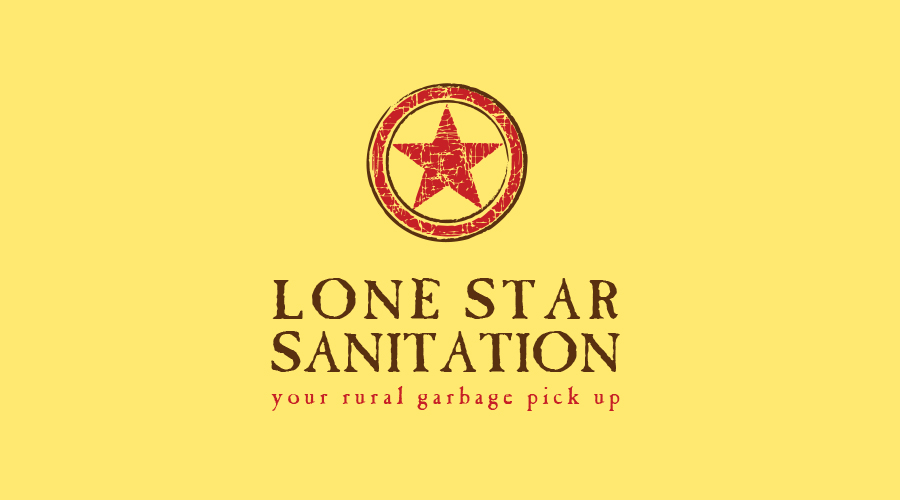 "Lone Star Sanitation  was a start-up business that needed a unique, identifiable logo. Since the company is set in wide-open Texas country, this ""lone star, rustic"" look and feel was the perfect fit."
