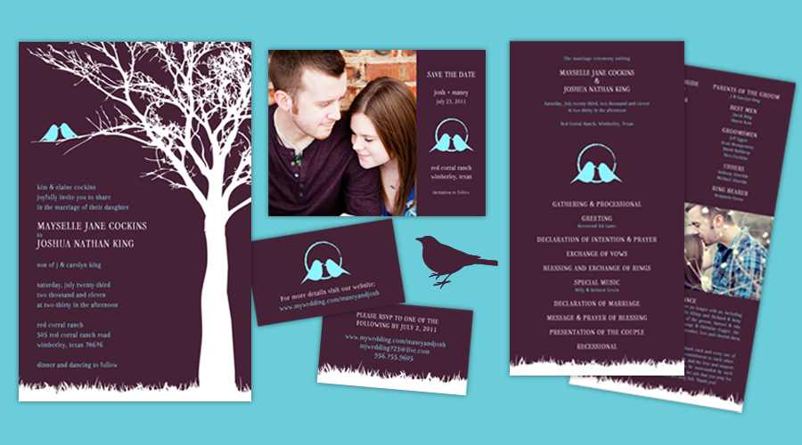 BLUE BIRD BLISS  :: Save-the-Dates + Invitations + Programs