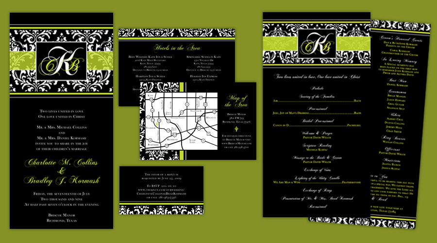 LIME DAMASK  :: Invitations + Programs