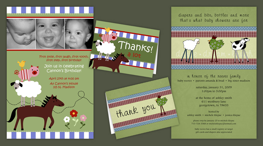 FARM ANIMALS  :: Invitations + Thank You Notes